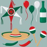 Cinco de Mayo Collection. A collection of Cinco de Mayo objects including pinata, balloons, liquor bottle, sombrero, maracas and peppers Stock Photography