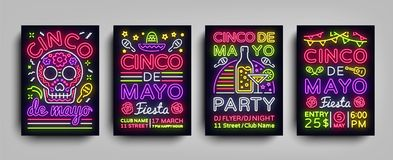 Cinco de Mayo Collection posters in neon style. Set Design Templates Flyers invitation for Sinco de Mayo Celebration. Brochure Neon, Light Banner, Typography Royalty Free Stock Image