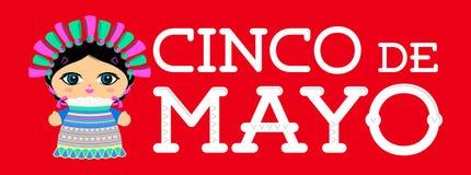 Cinco de Mayo con el ejemplo mexicano del vector de la mu?eca ilustración del vector