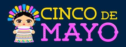 Cinco de Mayo con el ejemplo mexicano del vector de la mu?eca stock de ilustración