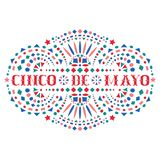 Cinco de mayo creative text and Mexican embroidery motif. Greeting composition with fiesta style Mexico folk art pattern. Western shapes of phrase. Traditional royalty free illustration