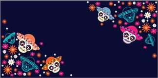 Cinco de Mayo, día del día de fiesta muerto, mexicano, festival Cartel, bandera y tarjeta del vector con el cráneo del azúcar con ilustración del vector