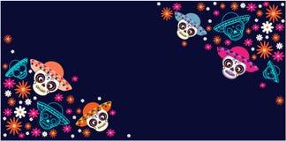 Cinco de Mayo dag av den döda mexicanska ferien, festival Vektoraffisch, baner och kort med sockerskallen med en hatt och blommor vektor illustrationer