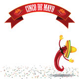 Cinco De Mayo Dancing Hot Pepper Background EPS10 Vector Royalty Free Stock Photography