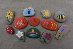 Cinco de Mayo, de samenstelling van het stenenontwerp Royalty-vrije Stock Afbeelding