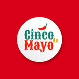Cinco de mayo. Design element for greeting card. Cinco de mayo. Design element for poster or greeting card. Vector illustration, text with red hot Chili pepper Stock Images