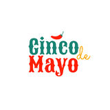 Cinco de mayo. Design element for greeting card. Cinco de mayo. Design element for poster or greeting card. Vector illustration, text with small red hot Chili Royalty Free Stock Photography