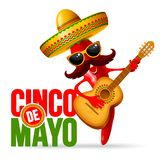 Cinco de Mayo. Design with lettering, and cheerful red pepper jalapeno mariachi in sombrero and with decorated guitar - symbols of holiday. Isolated on white stock illustration