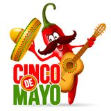 Cinco de Mayo. Design with lettering, and cheerful red pepper jalapeno mariachi in sombrero and with decorated guitar - symbols of holiday. Isolated on white vector illustration