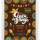 Cinco De Mayo die affichemalplaatje aankondigen stock illustratie