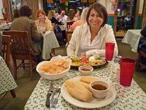 Cinco de Mayo Dinner. Photo of hispanic woman enjoying her cinco de mayo dinner at the cactus cantina restaurant in washington dc 5/5/2011. Cinco de mayo