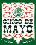 Cinco de Mayo, dise?o con el emblema patri?tico mexicano stock de ilustración