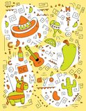 Cinco de Mayo Doodle. A cartoon illustration with a Mexican theme