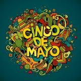 Cinco De Mayo Ejemplo dibujado mano del garabato del vector de la historieta