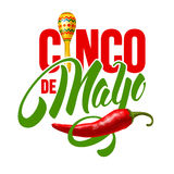Cinco de Mayo. Emblem design with hand drawn calligraphy lettering, maracas and red pepper jalapeno - symbols of holiday. Isolated on white background. Vector stock illustration