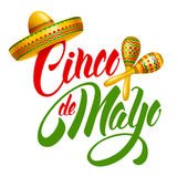 Cinco de Mayo. Emblem design with hand drawn calligraphy lettering, sombrero and maracas - symbols of holiday. Isolated on white background. Vector illustration vector illustration