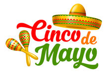 Cinco de Mayo. Emblem design with hand drawn calligraphy lettering, sombrero and maracas - symbols of holiday. Isolated on white background. Vector illustration