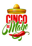 Cinco de Mayo. Emblem design with hand drawn calligraphy lettering, sombrero and red pepper jalapeno - symbols of holiday. Isolated on white background. Vector