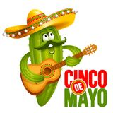 Cinco de Mayo. Emblem design with lettering, and cheerful green Mexican cactus wearing sombrero, which playing guitar - symbols of holiday. Isolated on white royalty free illustration