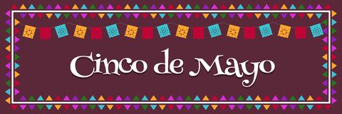 Cinco de Mayo - för Maj 5 Mexico federalt ferieaffisch baner med flaggavektorillustrationen stock illustrationer