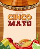 cinco de mayo Feliz Плакат с чистым листом бумаги Стоковая Фотография RF
