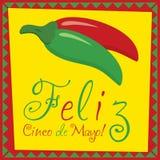 Cinco De Mayo!. Feliz Cinco de Mayo (Happy 5th of May) chilli card in vector format