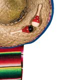 Cinco de Mayo festival background on white. Cinco de Mayo background image on with maracas and sombrero on white layer royalty free stock images