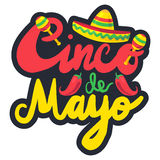Cinco De Mayo. Festival Label with chili and sombrero, maraca. Festival Poster. Vector royalty free illustration