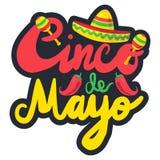 Cinco De Mayo. Festival Label with chili and sombrero, maraca. Festival Poster. Vector Stock Photography
