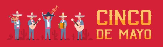 Cinco De Mayo Festival Poster With Group Of Mexican Musicians In Traditional Clothes Horizontal Banner. Flat Vector Illustration Royalty Free Stock Image