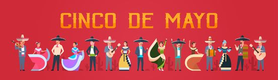 Cinco De Mayo Festival Poster With Mexican People In Traditional Clothes Musicians And Dancers Horizontal Banner. Flat Vector Illustration Royalty Free Stock Photography