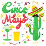 Cinco De Mayo. Festival Set from chili, confetti, cactus, mustache and margarita, sombrero and maraca. Festival Poster. Vector