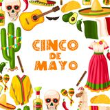 Cinco de Mayo festive card of mexican fiesta party. Cinco de Mayo mexican holiday greeting card for Puebla battle victory celebration. Fiesta party sombrero Royalty Free Stock Photography