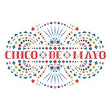 Cinco de mayo festive composition with text and bright Mexican embroidery motif. Greeting card with fiesta style Mexico folk art pattern. Western shapes of royalty free illustration