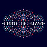 Cinco de mayo festive composition with text and Mexican embroidery motif. Greeting card with fiesta style bright Mexico folk art pattern. Western shapes of vector illustration