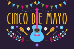 Cinco de Mayo festive design for Mexican holiday. Colorful banner of 5 May in Mexico with guitar, flowers, maraca and flags. Vector illustration Stock Photo