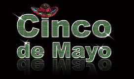 Cinco de Mayo. Festive, glittery text for the holiday Cinco de Mayo, created in Photoshop with reflection, and a little Mexican sombrero stock illustration
