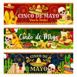 Mexican Cinco de Mayo vector fiesta banners. Cinco de Mayo fiesta celebration banners of tequila, jalapeno pepper or cactus and guitar. Vector traditional Royalty Free Stock Photo
