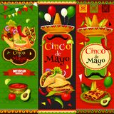 Mexican Cinco de Mayo vector fiesta banners. Cinco de Mayo fiesta celebration banners of tequila, jalapeno pepper or cactus and mustache. Vector traditional Stock Photography