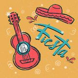 Cinco de Mayo Fiesta hand drawn lettering with decoration elements in grunge style. Mexican holiday, Fiesta party, carnival. Greeting card, poster, banner, logo Royalty Free Stock Photo