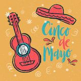 Cinco de Mayo Fiesta hand drawn lettering with decoration elements in grunge style. Mexican holiday, Fiesta party, carnival. Greeting card, poster, banner, logo Royalty Free Stock Photos
