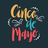 Cinco de Mayo Fiesta hand drawn lettering with decoration elements in grunge style. Mexican holiday, Fiesta party, carnival. Greeting card, poster, banner, logo Royalty Free Stock Photography