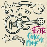 Cinco de Mayo Fiesta hand drawn lettering with decoration elements in grunge style. Mexican holiday, Fiesta party, carnival. Greeting card, poster, banner, logo Stock Photos