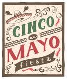 Cinco de Mayo fiesta lettering text. Retro flyer invitation. Illustration in vector format Stock Photos