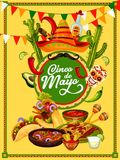 Cinco de Mayo fiesta party food and drink banner. Cinco de Mayo fiesta party food and drink festive banner design. Sombrero hat, chili and jalapeno pepper Stock Images