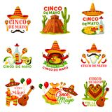 Cinco de Mayo fiesta party icon of mexican holiday. Festival sombrero hat, chili pepper and jalapeno, maracas, guitar and tequila, cactus, avocado guacamole Royalty Free Stock Images