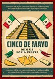 Cinco de Mayo fiesta party retro invitation poster. Cinco de Mayo fiesta party invitation poster for mexican holiday. Ancient aztec pyramid with Mexico flag Stock Photography