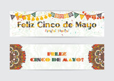 Cinco de Mayo fifth of May Day banners set. Royalty Free Stock Photos