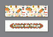 Cinco de Mayo fifth of May Day banners set. Stock Photos