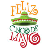 Cinco De Mayo (fifth of May, Mexican holiday) hand drawn type and sombrero Stock Photo